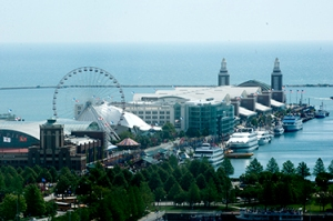 View of the Navy Pier from a hotel window.