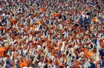 Fan cheers for the Auburn University Tigers.